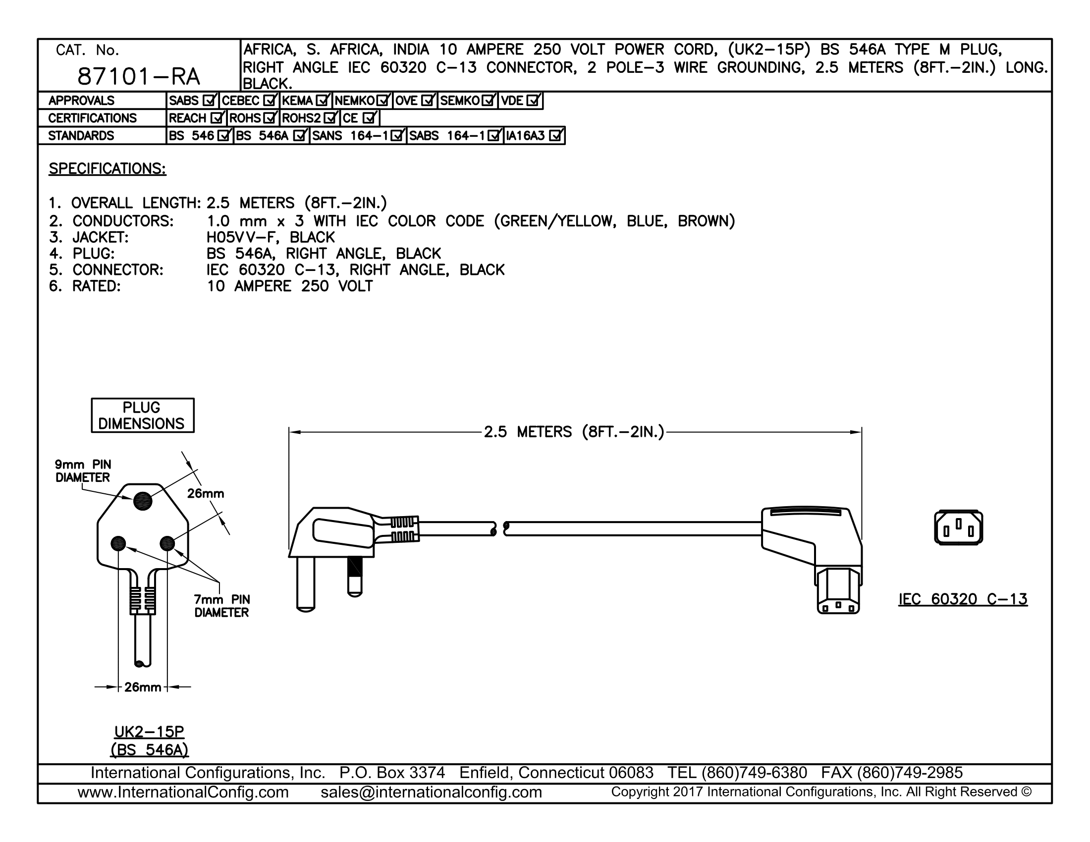 87101-ra - Right Angle C-13 Connector