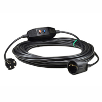 36025-RCDS10 Inline GFCI Schuko Extension Cord 10Ma Trip Level 16A-230/240V 25 Feet Long