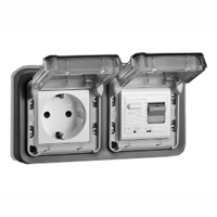5021-10HP Schuko GFCI 10Ma Trip Panel or Flush Mount IP55