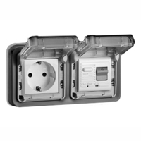 5021-30HP Schuko GFCI 30Ma Trip Panel or Flush Mount IP55