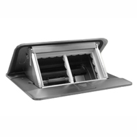 54021X45 Pop-Up Floor Box with Cover, 2-Gang, Stainless Steel Finish, Two Openings 45x45mm Size
