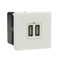 572078X45 USB Power Supply Charger, Double USB Sockets, 5V-1500mA, 45x45mm