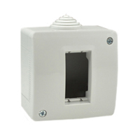 Surface Mount Plastic Box. IP40. Gray. Accepts 22.5 Devices.