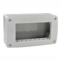 Surface Mount Plastic Box. IP40. Gray. Accepts 22.5, 45 & 67.5x45 Devices. 90x45mm Opening.
