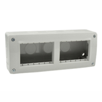 Surface Mount Plastic Box. IP40. Gray. Accepts 22.5, 45 & up to 67.5x45mm Devices. Duplex.