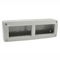 680608X45 Surface Mount Plastic Box. IP40. Gray. Accepts 22.5, 45 & 67.5x45 Devices. 90x45mm Opening. Duplex.