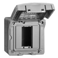 680611X45 Weatherproof Cover. Gray. IP55 Surface Mount with Box. Accepts 22.5mmx45mm Devices.
