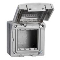 680612X45 Weatherproof Cover. Gray. IP55 Surface Mount with Box. Accepts 22.5mm & 45mmx45mm Devices.