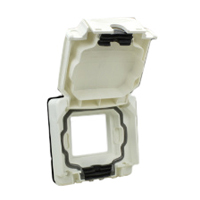 684585X45 Weatherproof Cover. White. IP66 Panel Mount. Accepts 22.5 & 45x45mm Devices.