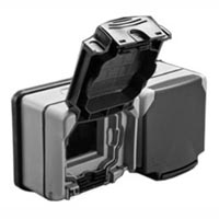 684628X45 Weatherproof Cover & Box. IP66. Gray. Surface Mount. Two 45x45mm Openings.