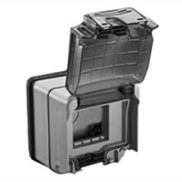 684636X45 Weatherproof Cover & Box. IP66. Gray. Surface Mnt. Accepts 22.5 & 45x45mm Devices.