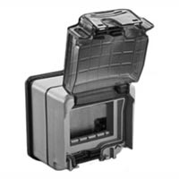 684638X45 Weatherproof Cover & Box. IP66. Gray. Surface Mnt. Accepts 22.5, 45 & up to 67.5x45mm Devices.
