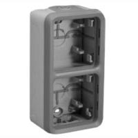 69661X45 Two Gang Vertical Surface Mount Box IP55 Entry Glands. Accepts Frames 69580X45, 69582X45