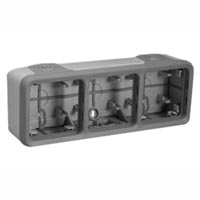 69680X45 Triple Gang Surface Mount Box IP55 Entry Glands. Accepts Frames 69580X45, 69582X45