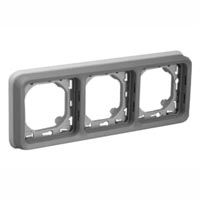 69687X45 Triple Gang Horizontal Panel Mount Frame IP55. Accepts Frames 69580X45, 69582X45