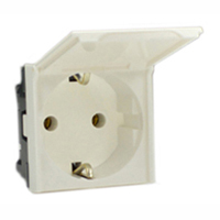 16 Amp 250V 70100x45-WDC European Schuko Outlet Receptacle with Flip Lid Cover