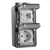 70225-10VH Schuko GFCI 10Ma Trip Vertical Hub Surface Mount IP55