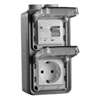 70225-30VH Schuko GFCI 30Ma Trip Vertical Hub Surface Mount IP55