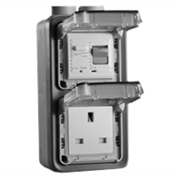 72325-30VH United Kingdom GFCI 30Ma Trip Vertical Hub Surface Mount IP55