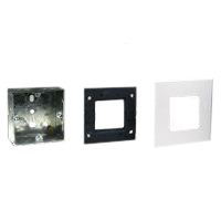 72350 79250X45-N 79265X45-N Flush Mount Metal Box, Frame & Plate. 45x45mm Opening.