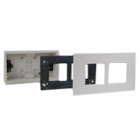 72355-F 79270X45-N 79255X45-N Flush Mount Plastic Box, Frame, Plate. Two Openings 45x45mm Size.