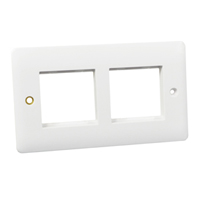 Wall Plate / Mounting Frame. Two-Gang. Opening Sizes 45x45mm (x2).