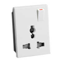 74900X45-WS 16A-250V & 15A-127V International Multi-Configuration Outlet. Switched.