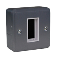 79240X45 Surface Mount Metal Box. Gray. Accepts 22.5x45mm Devices.
