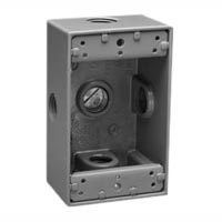 79420 Surface Mount Std USA 2x4 Wall Box. Cast Aluminum. 1/2 inch NPT entries. Use with 2x4 Mounting Frames.