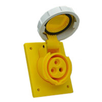 Pin and Sleeve Receptacle Outlet Devices 888-1265-NS IEC 60309 Panel Mount Receptacle Angled Type, IP67 Rated, 20 Amp 120 Volt, 4H, IEC 309 International Pin and Sleeve Devices