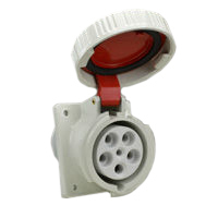 Pin and Sleeve Receptacle Outlet Devices 888-129 IEC 60309 Panel Mnt Recep Angled, IP67, 60A 380-415V & 400V, 63A 220/380-240/415V, 6H, IEC 309 International Pin and Sleeve Devices