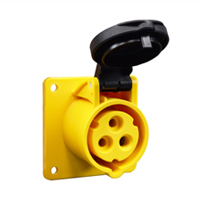Pin and Sleeve Receptacle Outlet Devices 888-13000-NS IEC 60309  Panel Mount Receptacle Straight Type, IP44 Rated, 20 Amp 120 Volt, 4H, IEC 309 International Pin and Sleeve Devices