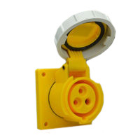 Pin and Sleeve Receptacle Outlet Devices 888-1371-NS IEC 60309 Panel Mount Receptacle Straight Type, IP67 Rated, 20 Amp 120 Volt, 4H, IEC 309 International Pin and Sleeve Devices
