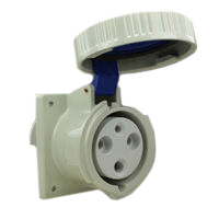 Pin and Sleeve Receptacle Outlet Devices 888-469306 IEC 60309 Panel Mount Receptacle Straight Type, IP67 Rated, 60A 250V, 63A 200-250V, 6H, IEC 309 International Pin and Sleeve Devices