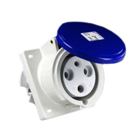 Pin and Sleeve Receptacle Outlet Devices 888-560306 IEC 60309 Panel Mount Receptacle Angled Type, IP44 Rated, 60A 250V, 63A 200-250V, 6H, IEC 309 International Pin and Sleeve Devices