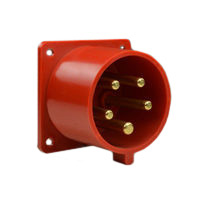 Pin and Sleeve Inlet Devices 888-7156-NS IEC 60309 Panel Mount Inlet Straight Type, IP44 Rated, 20A 200-415V, 16A 220/380-240/415V, 6H, IEC 309 International Pin and Sleeve Devices