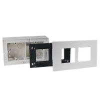 79245X45-N 79270X45-N 79255X45-N Surface Mnt Plastic Box, Frame & Plate.Two Openings 45x45mm Size.