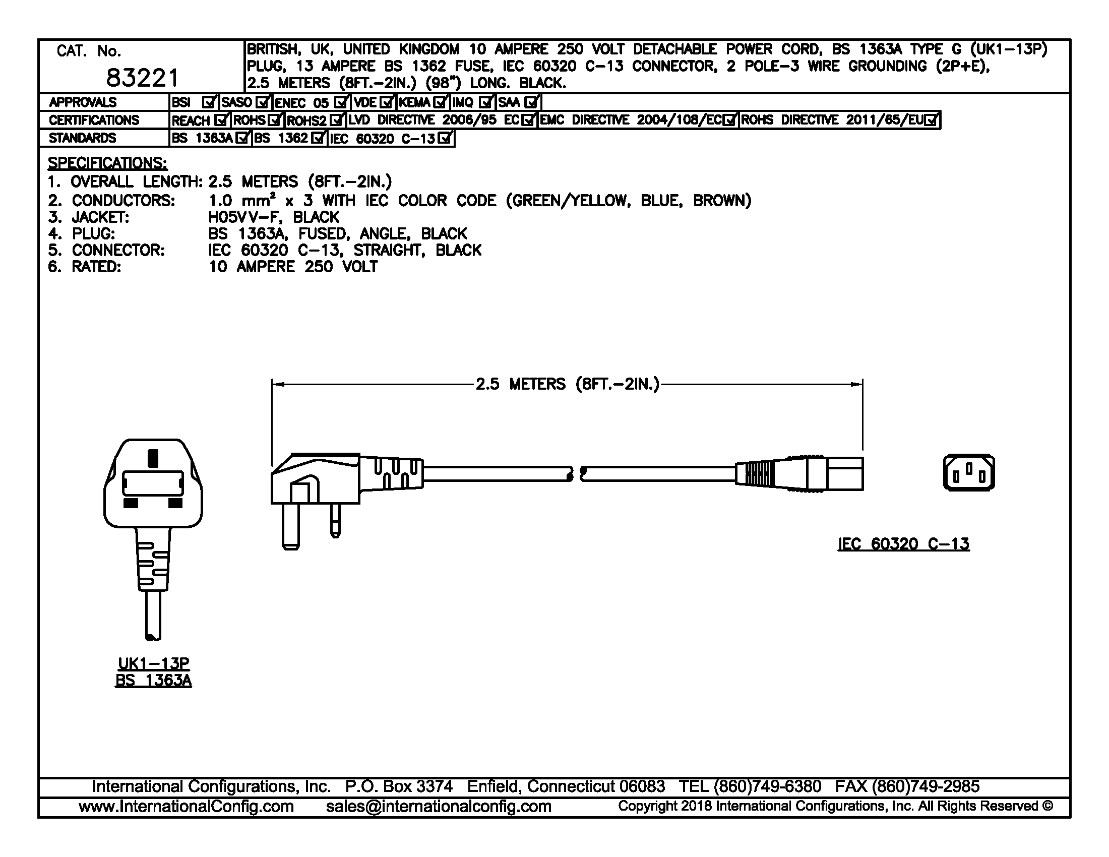 83221 - Straight C-13 Connector